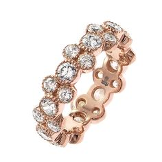 Unique diamond Gold eternity anniversary band   From a unique collection of vintage band rings at https://www.1stdibs.com/jewelry/rings/band-rings/