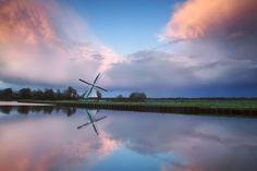 Windmill at sunset, Gronigen, Netherlands.