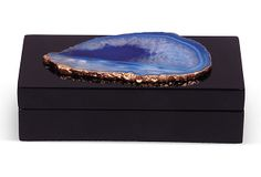 """One Kings Lane - An Effortless Equation - 5"""" Lacquer Box, Black w/ Blue Agate"""