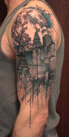 City Night Tattoo on arm for men - 60 Awesome Arm Tattoo Designs  <3 <3