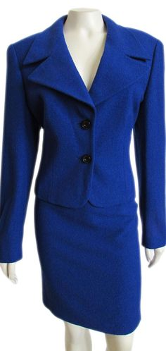 Escada Cobalt Blue Wool Blend Boucle Skirt Suit size 40 / 10  Stunning Escada wool blend skirt suit, done in a rich cobalt blue color! Jacket features a folded collar with wide set lapels, double button front, contour seaming for a closer fit, long sleeves, full lining, and short length. The matching skirt features a classic pencil cut with banded waist, slim fit...  #EscadaSuits #EscadaForSale #EscadaClothing #Size10 #WeartoWork #ForSale
