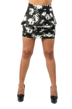 Lana Black And White Floral Printed Peplum Skirts