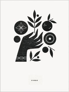 Virgo letterpress print by Katie Kirk - illustration - Hand Logo, Ideal Logo, Hand Illustration, Illustrations, Linocut Prints, Art Prints, Creation Art, Arte Popular, Art Graphique