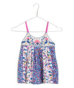 Look at this Mim Pi Blue Mini-Floral Babydoll Tank - Toddler