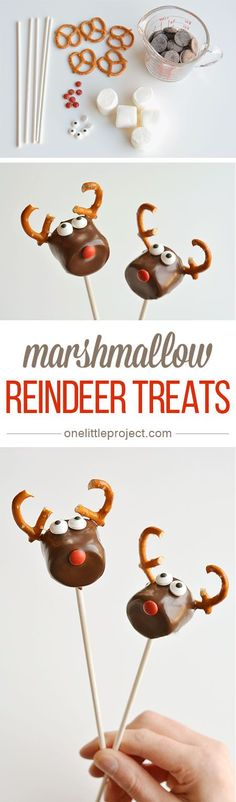 These chocolate covered marshmallow reindeer are so cute and SO EASY! And if you use dark chocolate, they actually taste amazing too! Simple and adorable! These chocolate covered marshmallow reindeer are so cute and SO EASY! Christmas Party Food, Xmas Food, Christmas Sweets, Christmas Cooking, Christmas Goodies, Christmas Candy, Holiday Baking, Christmas Desserts, Holiday Treats