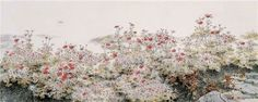 (Korea) by Kim Chung Sik (1954-   ). color on hanji. Korean painting.