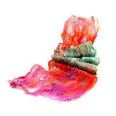 Cobweb Felted Scarf Wool Scarf Winter Scarf Winter Fashion Fall Scarf Womens Scarf Red Magenta Purple Green Teal Under 75 OOAK by Fibernique on Etsy https://www.etsy.com/listing/108668596/cobweb-felted-scarf-wool-scarf-winter