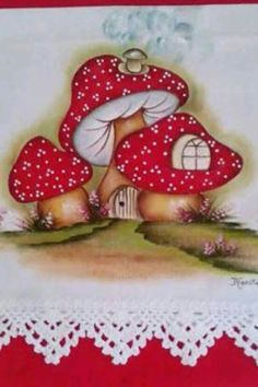 #pinturainteriorescasas Mushroom Crafts, Mushroom Art, Tole Painting, Fabric Painting, Hand Embroidery, Embroidery Designs, Cute Art, Textile Art, Painted Rocks