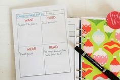 Free printable Wishlist for Christmas - Want, Need, Wear, Read