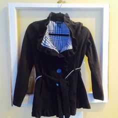 Black Button/Tie Jacket Black cotton jacket. Plaid contrast accents. Sweatshirt like fabric. Lightweight. Buttons and ties. Mid thigh length on me. Self Esteem Jackets & Coats
