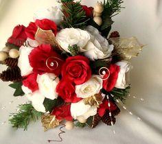 winter brides | Winter Bridal Bouquet Red Ivory silk wedding flowers pine cones ...