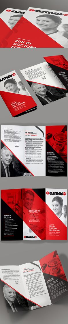 ASMOF (Australian Salaried Medical Officers' Federation) is the Australian trade union representing salaried doctors. Made redesigned the tri-fold brochure which outlines the services and benefits of being a member.  The use of abstract, geometric shapes is used throughout the design of the brochure creating a stylish and modern look; while the red, black and white colour scheme reflects the company's current logo and branding.