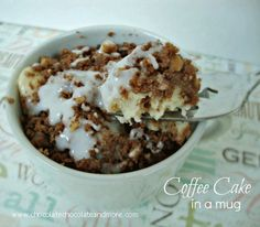 Coffee Cake in a mug-when you just want one serving, not a whole cake, and it's so good! Mug Cake Week! I've saved the best for last. This one is a little bit of work but it's so worth it! I love coffee cake fresh out of the oven, still warm, with a little glaze …