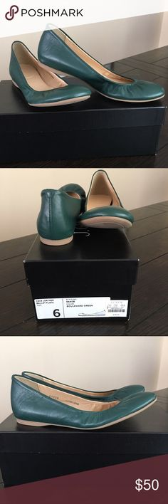 J.Crew Cecelia Leather Ballet Flats - Green Worn once with original packaging and box, Forest Green Ballet Flat. Leather Upper, Rubber sole, made in Italy. No Trade but negotiable with price. J. Crew Shoes Flats & Loafers