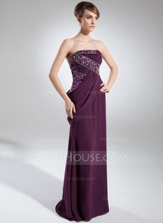 Sheath/Column Strapless Floor-Length Chiffon Charmeuse Evening Dress With Ruffle Beading (017025911)