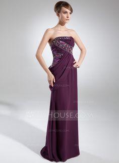 Sheath/Column Strapless Floor-Length Chiffon Charmeuse Evening Dress With Ruffle Beading (017025911)