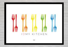 Our kitchen is our favourite place in our home. Family time, parties of just snacking; the kitchen is where it all happens.  This colourful design is a simple and elegant illustration designed to be hung in the kitchen. The colours are bright and vibrant to represent the joy of the kitchen.