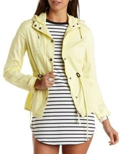 282b404de80d Drawstring Hooded Anorak Jacket by Charlotte Russe - Yellow