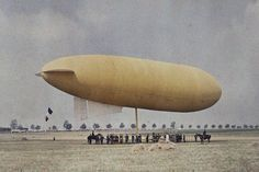 Zeppelin photo by Léon Gimpel (France, 1873–1948). Gimpel met the Lumière brothers (and their invention: the autochrome) in 1904. He modified their procedure, and became the only photographer to reproduce coloured scenes of life in la Belle Epoque. He initiated the movement to bring science to the general public using autochrome, and produced thousands of photographs between 1897-1932
