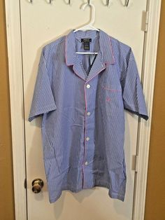 d15428caed POLO Ralph Lauren (men s Large) 100% cotton blue pink striped night  sleep-shir  fashion  clothing  shoes  accessories  mensclothing   sleepwearrobes (ebay ...