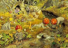 Illustration by Elsa Beskow Elsa Beskow, Forest Illustration, Children's Book Illustration, Book Illustrations, Fairy Land, Fairy Tales, Children Of The Forest, Poster Shop, Marie Madeleine