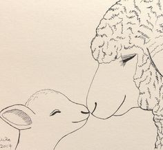 Lamb Sheep Ink Drawing Print Nursery Art Mom Sheep Baby by mikaart, $7.99