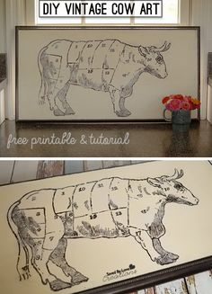 DIY Kitchen Cow Art Tutorial With Free Printable Butcher Cow Art @savedbyloves