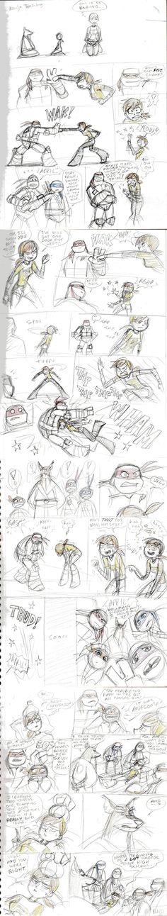 TMNT 2012-April's Ninja Training by ~nanashi on deviantART