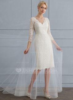 eb29f87aa896 A-linjeformat Rund-urringning Sweep släp Tyll Spets Bröllopsklänning  (002124285)