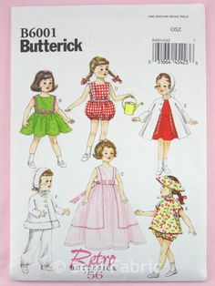 XXXXX Butterick 6001 Sewing Pattern 1950 s Retro 18 Doll Clothes Patterns 6 Outfits