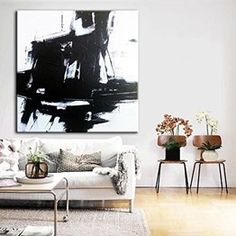 Black And White Abstract Art Huge Wall Art Large Oil Painting Abstract Decor Abstract Art Canvas Wall Painting For Living Room Canvas Art Living Room Canvas Art, Large Canvas Wall Art, Extra Large Wall Art, Abstract Canvas Art, Wall Art Decor, Wall Art Prints, Black And White Wall Art, Colorful Paintings, Original Paintings