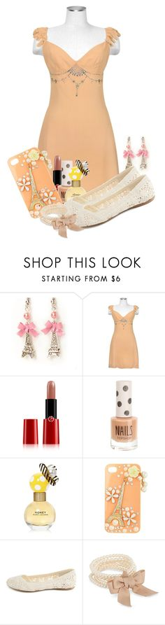 """""""Just Peachy"""" by madameregal ❤ liked on Polyvore featuring Hafize Ozbudak, Giorgio Armani, Topshop, Marc Jacobs, Charlotte Russe and J by Jasper Conran"""