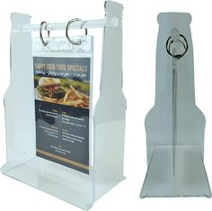 Bottle Shaped Acrylic Table Stand. Looking to display your new food and drink items right on the tables or at the bar? Then table top holders are the perfect additions to your bar or restaurant! These menu display stands come in a variety of styles and colors, and will help you advertise specials in your bar or restaurant.