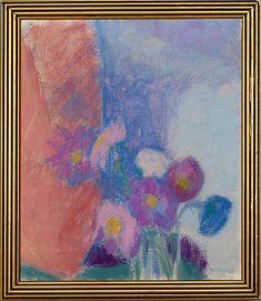 ELLEN THESLEFF, KUKKA-ASETELMA. - Bukowskis Bukowski, Magazine Art, Art Market, Still Life, Oil On Canvas, Auction, Artwork, Flowers, Image