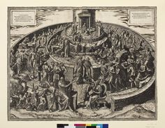 Tabula Cebetis, (two plates); a garden divided into three concentric circles by low walls filled by a numerous allegorical figures; in the central ring rises a temple; standing on a slab close by the wall to the inner ring is a naked female figure labelle