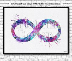 Infinity Symbol Watercolor Print Yoga Poster Blue Purple Zen Decor Wedding Gift #Watercolor