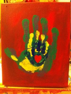 Handprints painting - these were our Mother's day gifts to the grandmothers this year.