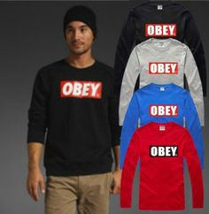 On sale Obey classic print casual men's clothing o-neck long-sleeve pullover men's T-shirt Women basic shirt $17.24 Men's Clothing, Street Wear, Men Casual, Mens Fashion, Pullover, Classic, Long Sleeve, T Shirt, Stuff To Buy