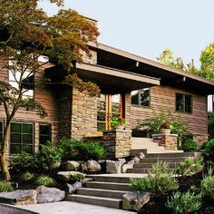 The natural color palette, great stairs/entry and landscaping of this house in Lake Oswego, Oregon is so beautiful!