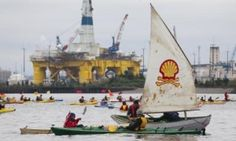 'Shell No' protesters take to the water on Saturday to protest near Royal Dutch Shell's Polar Pioneer drilling rig near Seattle. Shell accused of strategy risking catastrophic climate change Environmentalists says presumption of global temperature rise to 4C undermines multinational's ability to talk with authority on climate change.