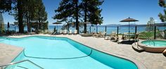Swimming Pool with a View of the Lake at the Red Wolf Lakeside Lodge in Tahoe Vista, CA