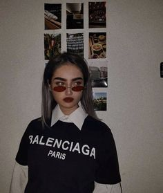 Balenciaga - Gucci Tshirt - Ideas of Gucci Tshirt - Balenciaga black tshirt with a white blouse underneath. The whole outfit paired with little red glasses Badass Aesthetic, Bad Girl Aesthetic, Aesthetic Grunge, Aesthetic Photo, Aesthetic Fashion, Aesthetic Pictures, Aesthetic Clothes, Tumblr Photography, Photography Poses
