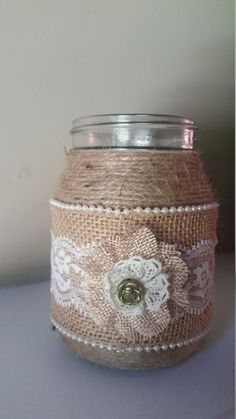burlap mason jarburlap and lace mason jar by SouthernRusticMomma