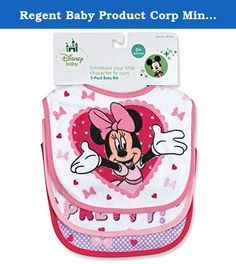 Regent Baby Product Corp Minnie Mouse White Bib, White (3 Pack). Minnie Mouse Terrycloth Bib. Three Pack. Soft and absorbent terrycloth bib featuring baby's favorite characters. Available from Regent Baby Products. Treating your baby royally since 1946.