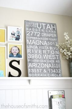 List all the addresses we have lived on a canvas, pretty neat!  But I don't know how to get it on there to look printed like this.