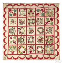 Baltimore album quilt, mid 19th c., with twenty-five floral and bird appliqué panels - Price Estimate: $2000 - $4000