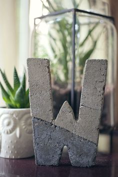 DIY concrete letter - would make great book ends, too!