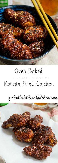 Oven Baked Korean Fried Chicken | girlinthelittleredkitchen.com