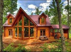 Cabins And Cottages: wood cabin large windows = Dream Home Log Cabin Living, Log Cabin Homes, Plan Chalet, Haus Am See, Cabin In The Woods, Cabins And Cottages, Big Windows, Cabin Design, Logs