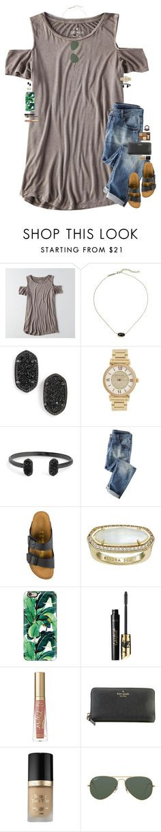 """•Say you'll remember me•"" by maggie-prep ❤ liked on Polyvore featuring American Eagle Outfitters, Kendra Scott, Michael Kors, Wrap, Birkenstock, Casetify, tarte, Kate Spade, Too Faced Cosmetics and Ray-Ban"